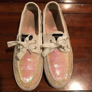 SPERRY WHITE AND PINK SEQUIN SHOES. W9/M7.5.